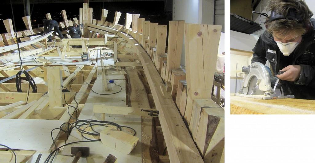 Til venstre: Oversiktsbilde fra spantebjelkene og opp. Til høyre: Georg skjærer ut en garneringsplanke