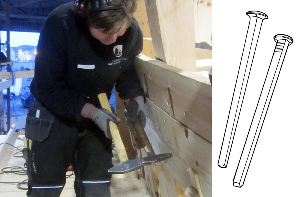 Georg slår skipsspikeren inn i et forsenket hull i hudplanken, og bruker en porhammer for å dore den inn i hullet.