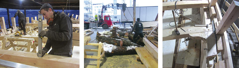 Venstre: Jørgen kontrollerer at centerlinja på bjelken ligger midtskips, dvs. etter snor, idet han skal til å felle på plass bjelken. Midten: Røttene ankommer byggeplassen. Høyre: Et vinkelkne er boltet på plass. Dette kneet er litt langt fram i fartøyet, og er derfor ute av vinkel.