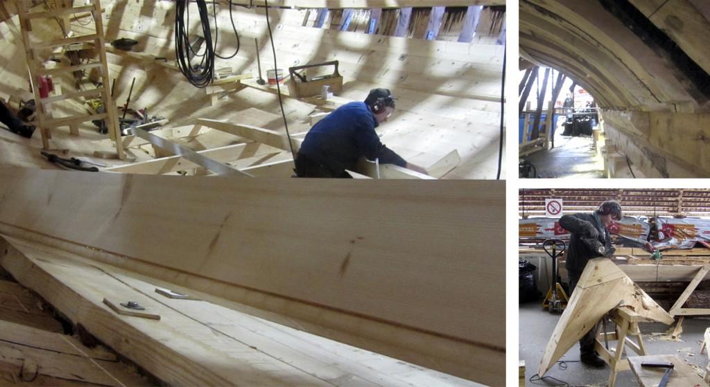 Venstre: Inne i båten ser vi at Kasper er i gang med å felle bjelkene til dørken. Oppe til høyre: Under foten av spantene kan vi her se et grovt tilhugd trekantet tømmer som fyller ut og danner en god anleggsflate for kjølplanken. Nede til høyre: Georg tilpasser en brok. For å få en god anleggsflate mot stevnen har han måttet felle inn et stykke fyllstykke.