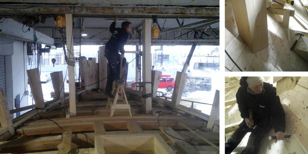 Venstre: Beitingene omtrent på plass. Høyre oppe: Styrbord beiting klar til forbolting. Høyre nede: Josefine tapper babord beiting ned i garneringen.