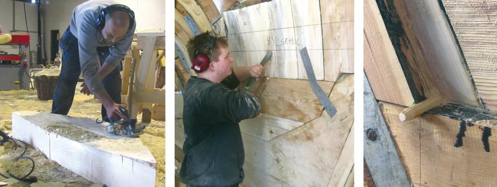 Venstre: Lars høvler på klossen sin. Midten: Georg feller på plass strekkskinner i akterskipet. Høyre: Sjønaglen er drevet på plass mellom kjøl og akterstevn.