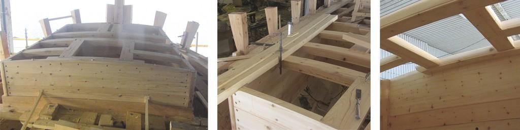 Venstre: Ruffsidene og bjelkelaget er på plass, og er nå ferdig boltet. Midten: Den ytterste planken i ruffens tak har en fortykning som gjør at det ser ut som to planker. Høyre: Her ser vi bjelkelaget inne i fra ruffen.