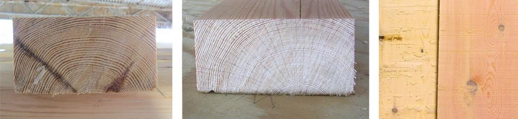 Venstre: En riktig feit dekksplanke. Ideelt sett burde ikke årringene ligge fullt så flatt på planken. Midten: En ideel dekksplanke; tettvokst, feit og hvor undersiden av planken ligger tett på margen. Det får årringene til å bli halve sirkelslag.  Høyre: Bildet viser den røde planke sammen med en normal planke fra samme området.