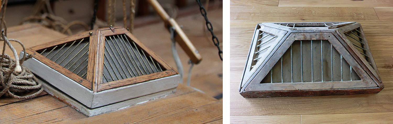 Her ser vi bilde av det gamle originale skylightet som Stein Gjøsund eier, og ett bilde som viser hvordan skylightet på modellen ser ut. Likheten er slående.
