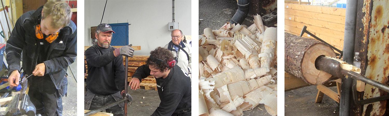 Fra venstre: Jørgen kvesser det minste navarboret før det skal spise seg igjennom stokken. Johan og Morten driver navaren rundt og rundt. Sponhaugen blir imponerende og uvanlig. Den største navaren er dratt tilbake og har skjea full av spon.
