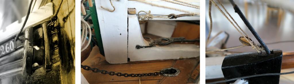 Venstre: En detalj fra Bankskøyta. En rull som går igjennom breitømmeret, som var i bruk når de lå til ankers ved kanten av fiskebankene. Midten: Toppstangas stag er festet til en bolt i kneet i forkant av palstøtta. Høyre: Detalj i toppen av stevnen.