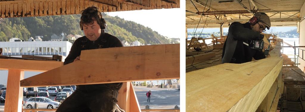 Venstre: Peter Brennvik jobber med en lask i rekka. Høyre: Angelo lager mal/skant til den siste biten av topprekka.