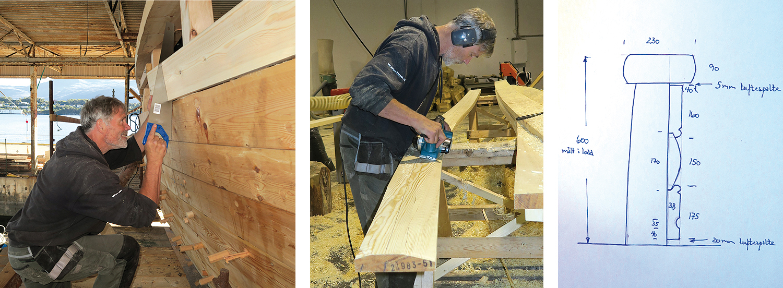 Venstre: Peter Madsen er konsentrert når han kapper av det første bordet i skansekledninga. Midten: Peter former fyllingsbordet. Høyre: En prinsippskisse av skansekledninga.