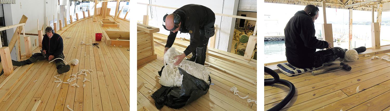 Venstre: Peter driver og driver. Midten: Lars ser om han har teknikken for å få ut et helt nøste av haugen med løs bomullstråd. Høyre: Lars i gang ute ved skandekket.