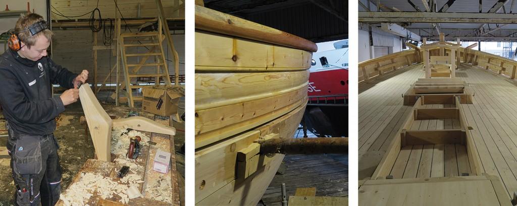 Venstre: Jørgen smir til klaumakken til storgaffelen. Midten: Skansekledninga er ferdig montert, og med hurtigruta som bakgrunn ses profilene godt. Høyre: Oversiktsbilde fra dekk.