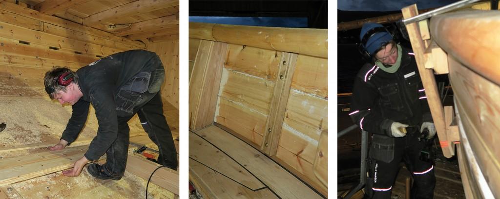 Venstre: Georg i sving med å tilpasse dørkbord i lasterommet. Midten: Et sted ville skansekledningsbordene skille lag, og der er de tvunget sammen med en ribbe. Høyre: Josefine i gang med å presse skansekledningsbordene på geledd.