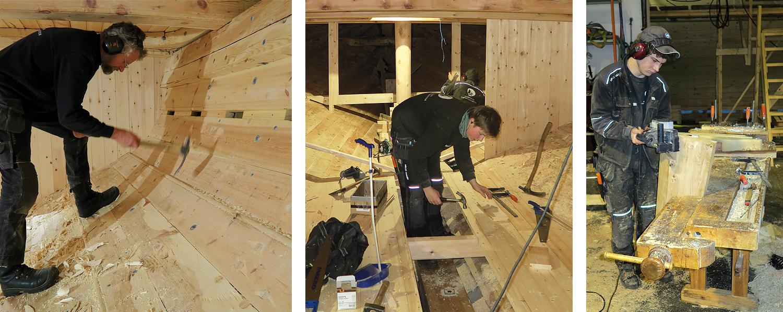 Venstre: Morten sletter garnering i lasterommet. Midten: Georg avslutter dørken, og i bakgrunn kan vi se Kasper med pumpestokken gjennom dekket. Høyre: Johan lager eikeklossene som skal holde baugrullen på plass.