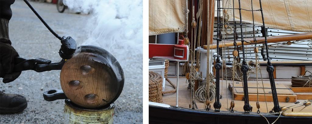 Venstre: Den første jomfrua er lagt i jern, og her oljebrennes hun for å være mer motstandsdyktig mot rust. Høyre: Her ser vi hvordan jomfruene fungerer sammen med taljerep.