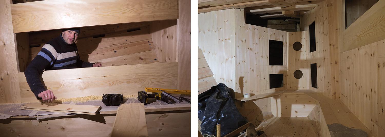 Venstre: Lars har ikke den helt store boltreplassen der han legger inn køyebunnen. Høyre: Køyer benker og skap har kommet på plass, og snart skal dørene lages.