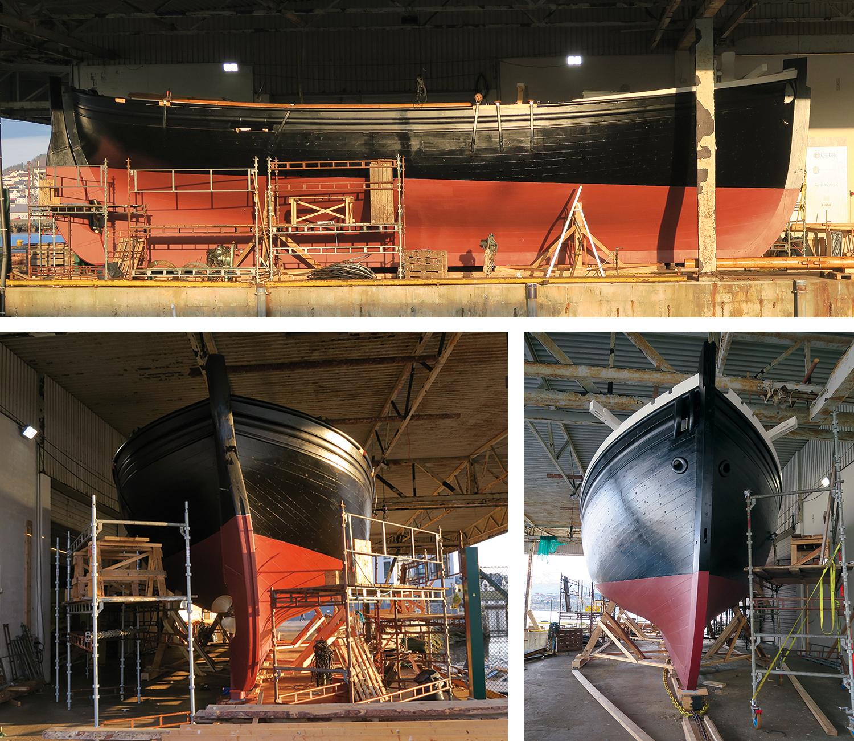 Bildene viser båten i morgensola tirsdag 12. april, og at slisker og kjetting ligger klar for bevegelse.