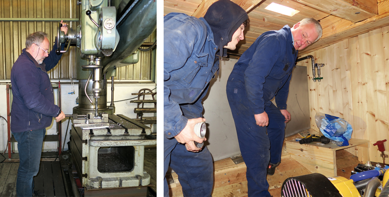 Venstre: Rolf har kontroll på søyleboremaskinen Høyre: To mann fra Vegsund slipp i maskinrommet.