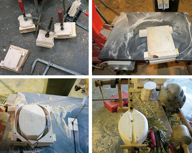 Venste oppe: Flere blokker er limt sammen. Høyre oppe: Tvinger og spiker er fjernet, og blokkhuset skal få sin fasong. Venstre nede: Blokkhuset er skåret ut. Høyre nede: Blokkhuset er avrundet i kantene, grøppingene laget og i hullene i endene skal det en kobberstreng som klinkes for å holde blokkhuset sammen.