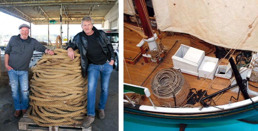 Venstre: Audun, Arnfinn og trossa. Høyre: Her ser en kveil med trosse på begge sider av seilet. De er sammenhengende og er nok flere hundre meter lang i virkeligheten.