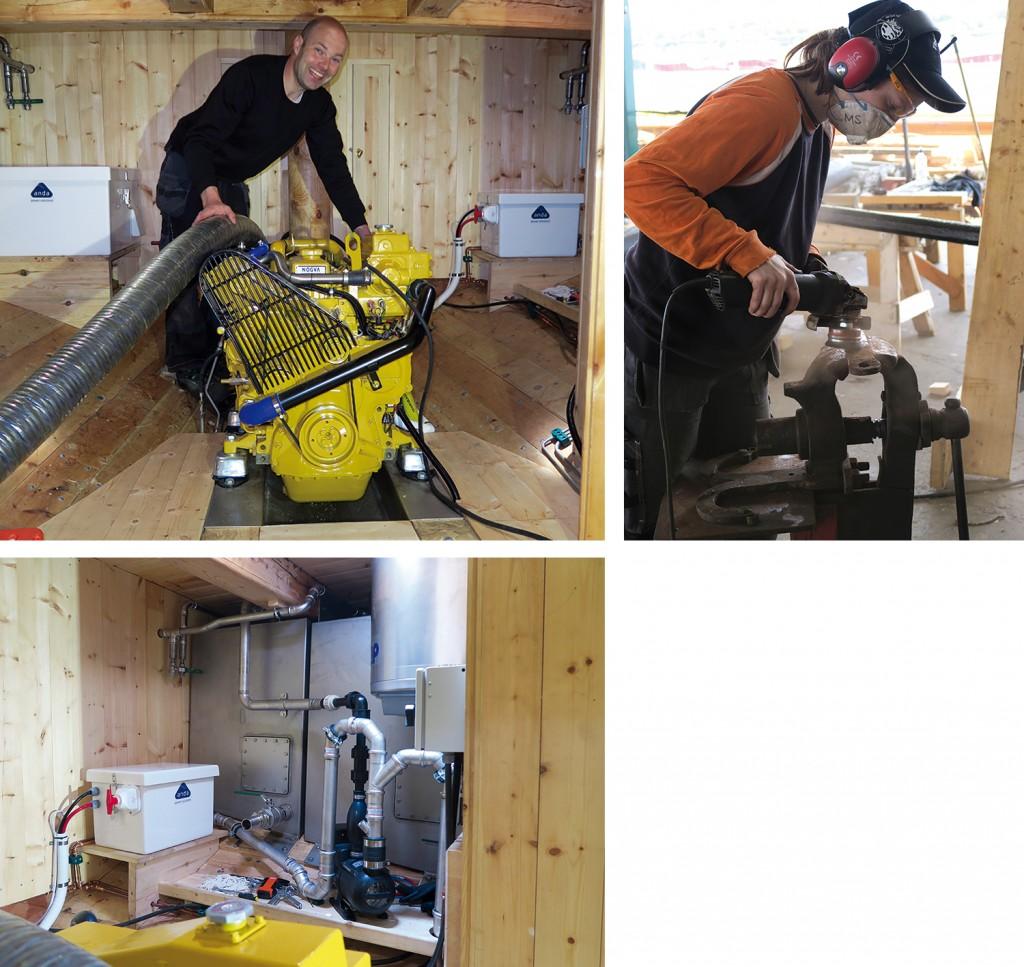 Venstre: Lars viser gladelig fram den startvillige maskinen. Høyre: Magdalena pikker rust. Nede: I maskinrommet er det flere tanker og mye rør.