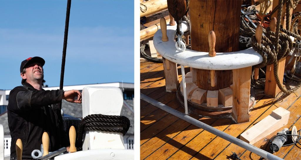 Venstre: Kasper sikter for å se at mastra står i lodd. Høyre: Lars har tilpasset kiler rundt stormasta, og er godt i gang med dem.