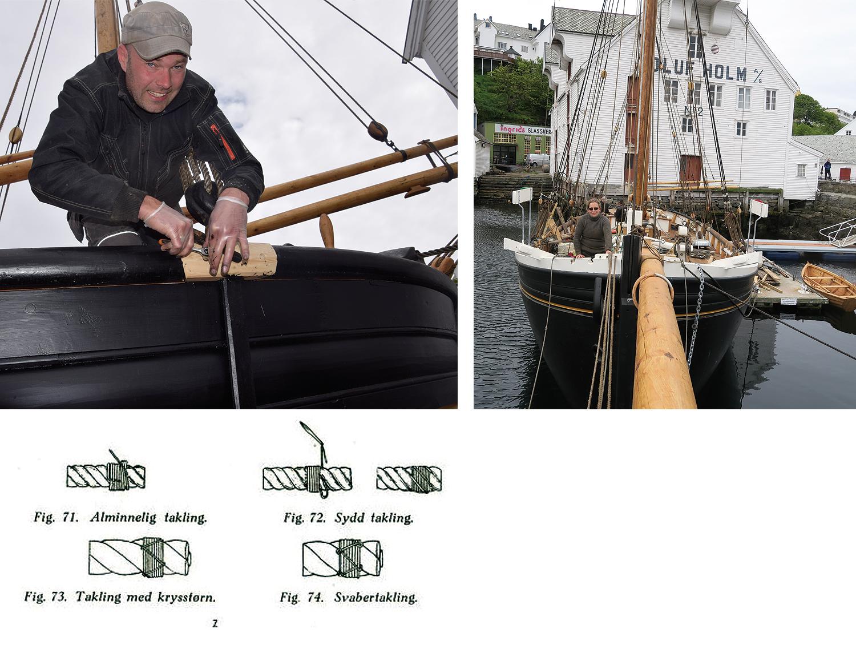 Venstre: Lars monterer en kloss rundt røstjernene. Høyre:  NPerspektivet fra klyverbommens ende. Nede: Taklinger